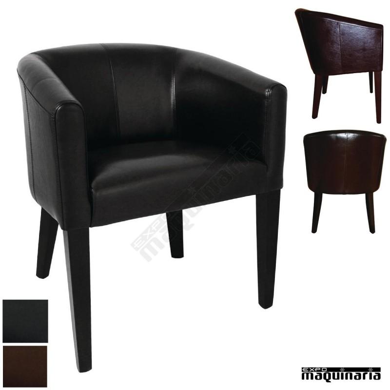 Sillon polipiel y madera de haya nice592 sofa sillon for Sofas individuales comodos