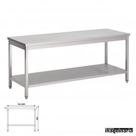 Mesa acero inoxidable central fondo 60 con estante
