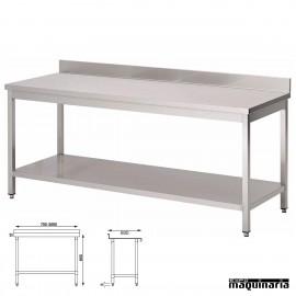 Mesa acero inoxidable con peto y estante fondo 60