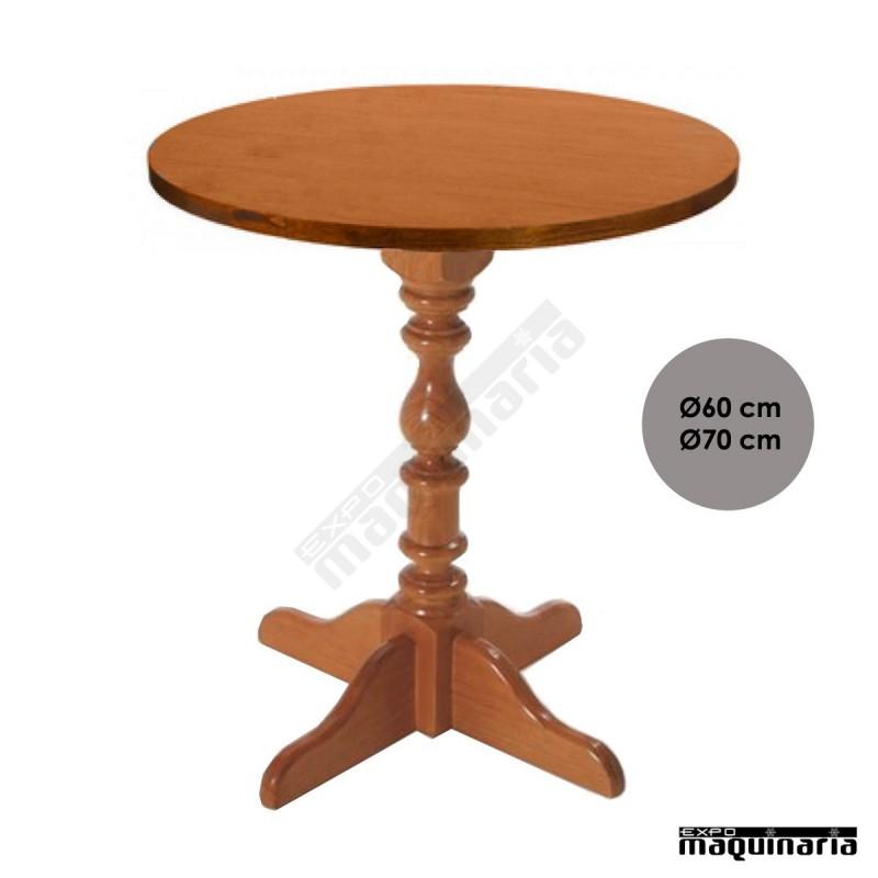 Mesa de madera torneada fasevilla redonda - Mesa de madera redonda ...