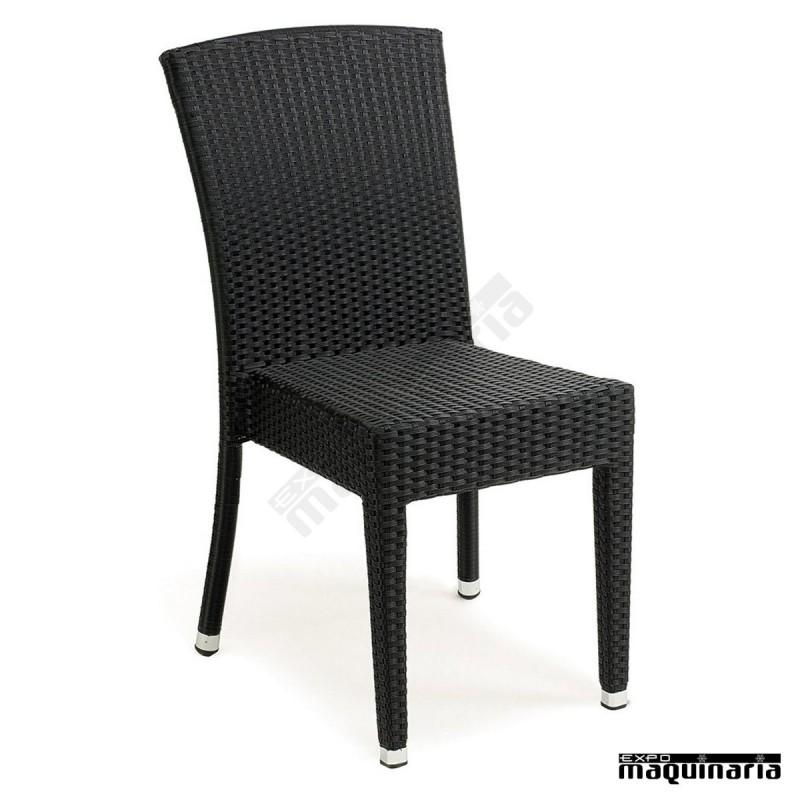 Silla apilable imitaci n rat n im4503 sillas de terraza - Sillas de terraza de aluminio ...