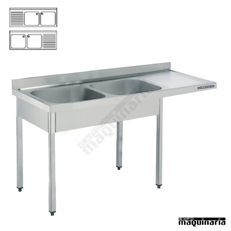 Fregadero hosteleria y bastidor inox, hueco lavavajillas (1800x600)