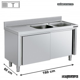 Fregadero inox 2 pozas con mueble 160x60cm