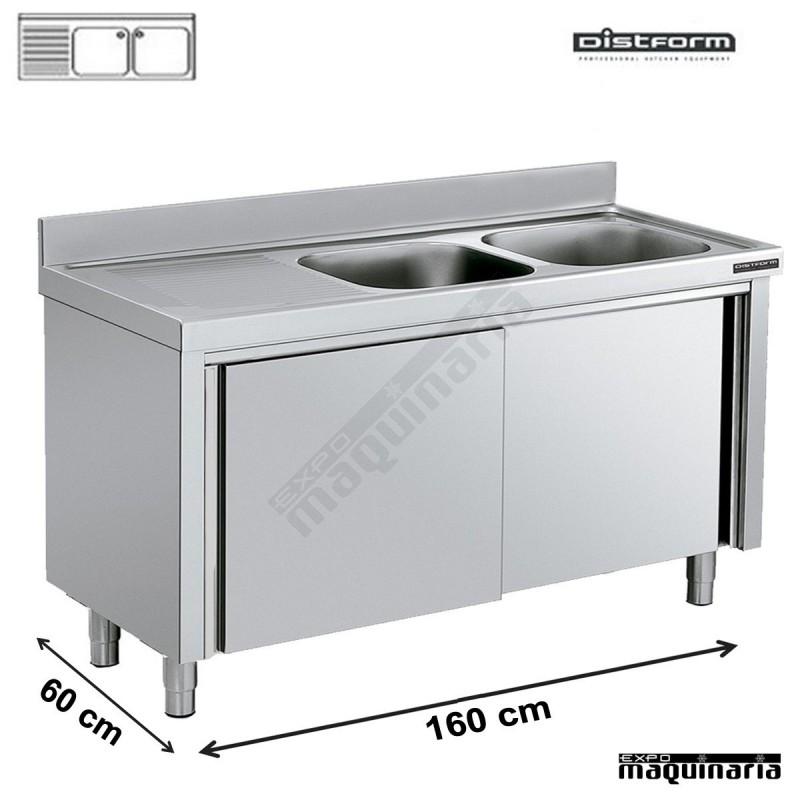 Fregadero industrial con mueble puertas correderas 2 - Fregadero con mueble ...