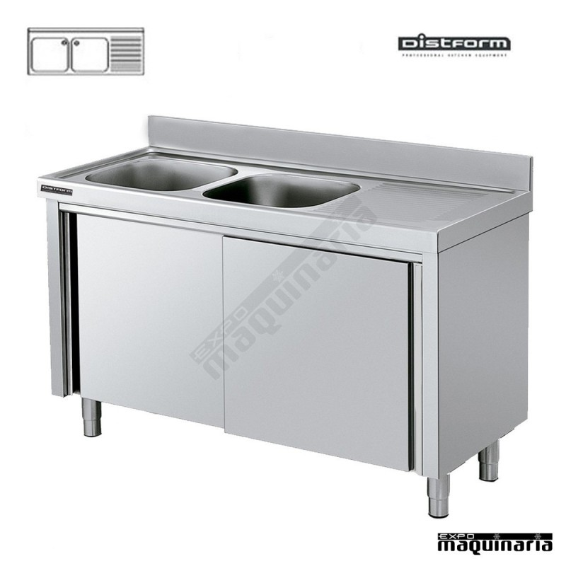 Fregadero industrial con mueble puertas correderas 2 - Fregaderos con mueble ...
