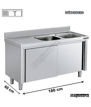 Fregadero inox con mueble puertas correderas 2 pozas y for Pozas para cocina