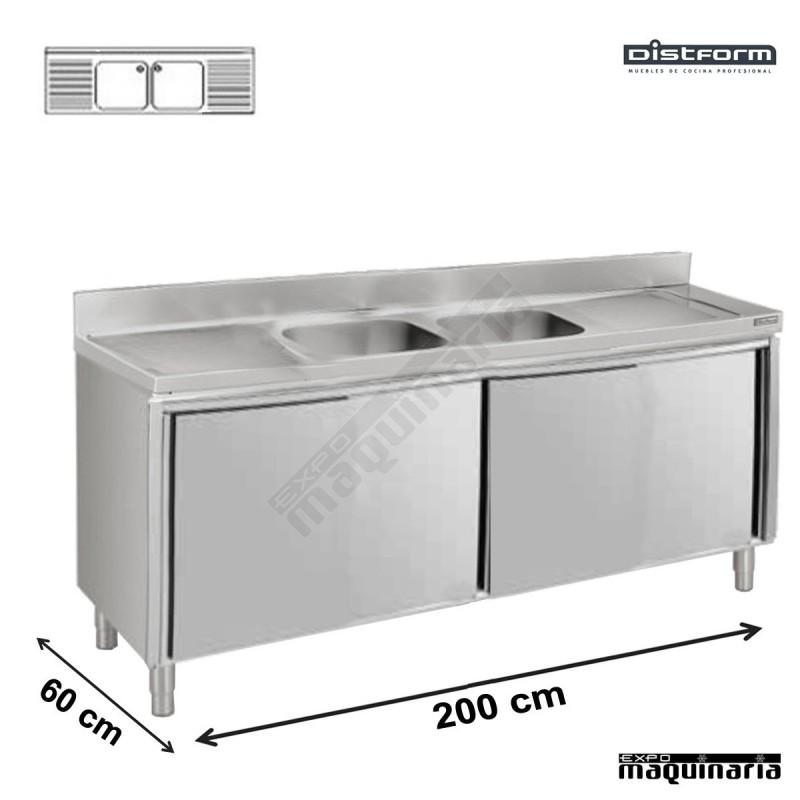 Fregadero industrial 2m con puertas correderas 2 pozas y - Fregaderos con mueble ...