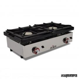 Cocina a gas de encimera con 2 quemadores PHG2