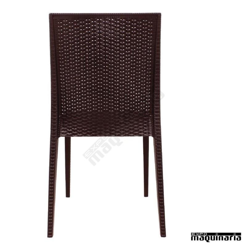 Silla apilable imitaci n rat n nigr361 sillas de terraza for Sillas de imitacion
