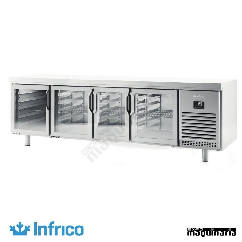Mesa refrigerad bmpp2500cr con puertas de cristal for Mesas con puertas