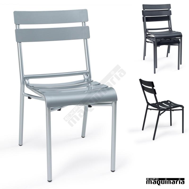 Sillas exterior en aluminio im4424 sillas apilables con for Sillas de aluminio
