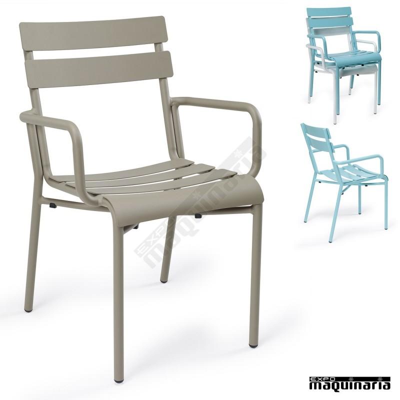 Sillones terraza de aluminio im4424 sillas apilables color for Sillones de exterior