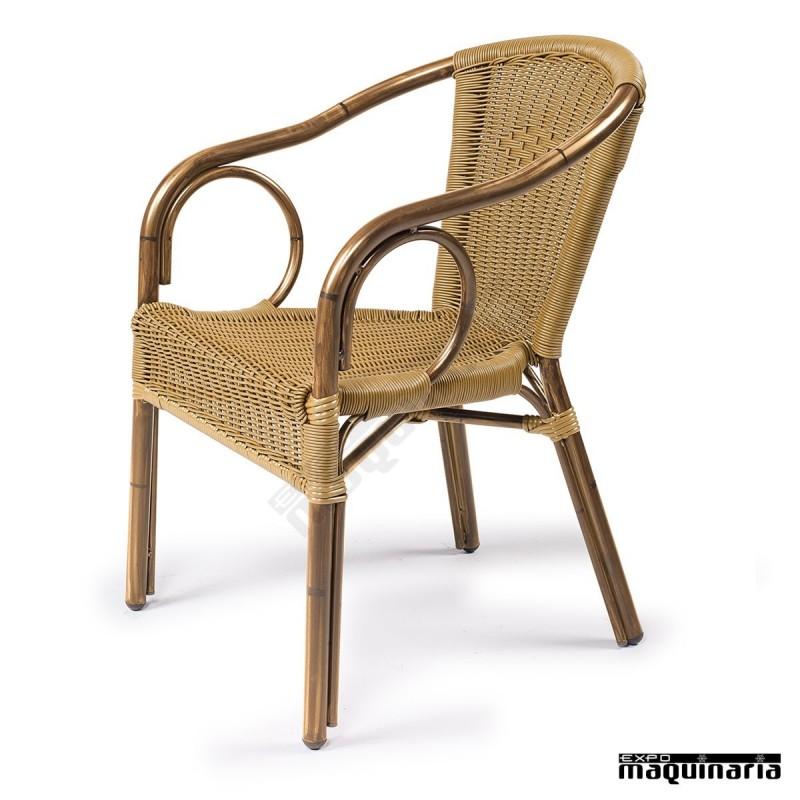 Sillones de rattan apilables im2060 sillas de terraza brazos aluminio - Sillones rattan ...