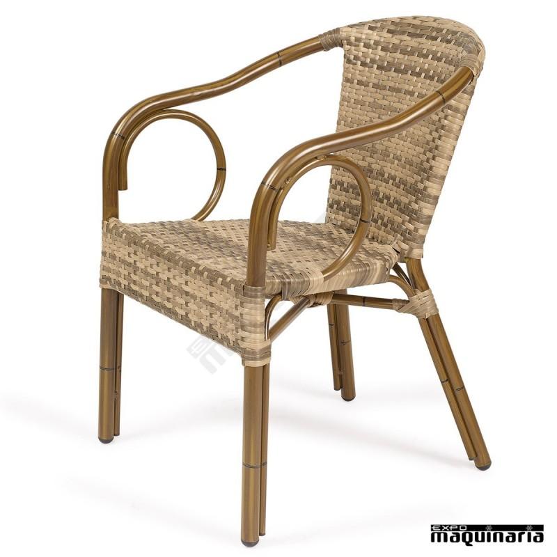 Sillones de rattan apilables im2060 sillas de terraza - Sillon madera exterior ...
