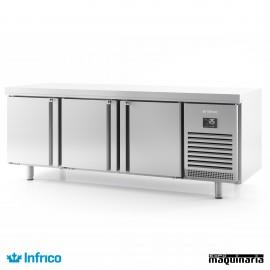 Mesa refrigerada pasteleria Central (218,5 x 80 cm) MR2190PDC puertas abiertas