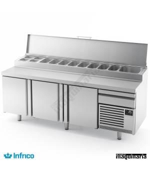 """Mesa refrigerada para pizzas """"LUCENA"""" (226 x 80 cm)"""