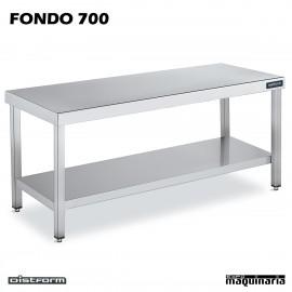 Mesa CENTRAL Inox Fondo 700 CON ESTANTE