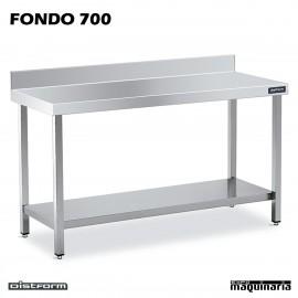 Mesa MURAL Inox Fondo 70 CON ESTANTE
