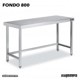 Mesa CENTRAL Acero Inox FONDO 800 SIN ESTANTE
