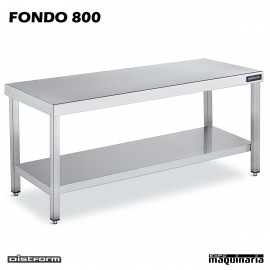 Mesa Acero Inoxidable Central FONDO 800 con estante