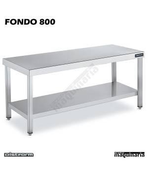 Mesa Acero Inoxidable Central FONDO 800 con estante