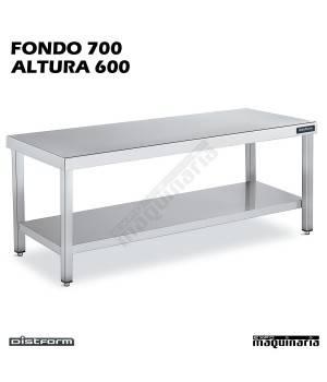 Mesa CENTRAL BAJA Fondo 70 CON ESTANTE acero inoxidable para cocina