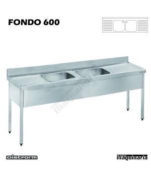 Fregadero acero inox. con bastidor Dos Cubetas y Dos escurridores Fondo 600