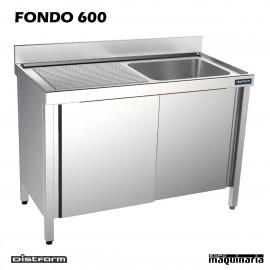 Fregadero acero inox. con bastidor Una Cubeta y escurridor Fondo 600