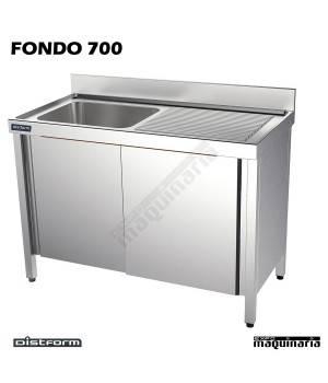 Fregadero con mueble INOX, 1 cubeta y escurridor 130x70