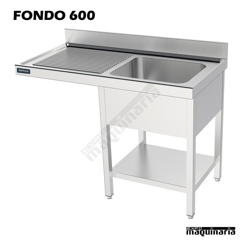Fregadero y bastidor estante hueco lavavajillas en acero for Medidas lavavajillas 60