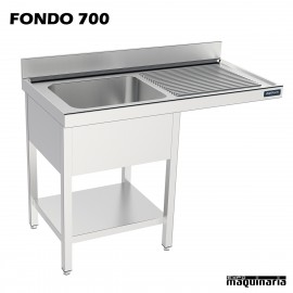 Fregadero bastidor con estante y espacio lavavajillas (fondo 700)