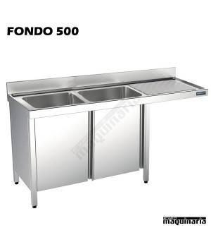 Fregadero inox. 2 pozas, mueble, hueco lavavajillas Fondo 500