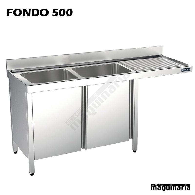 Fregadero inox 2 pozas mueble hueco lavavajillas fondo 500 for Medidas de lavavajillas