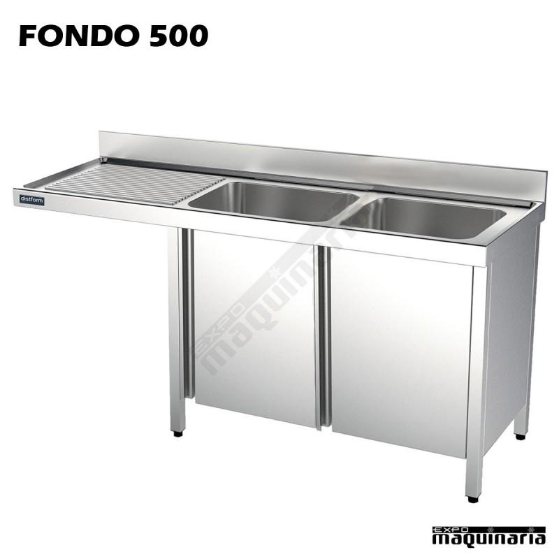 Fregadero inox 2 pozas mueble hueco lavavajillas fondo 500 - Fregaderos con mueble ...