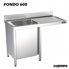 Fregadero industrial inox. mueble, hueco lavavajillas Fondo 600