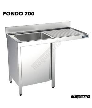Fregadero industrial inox. mueble, hueco lavavajillas Fondo 700