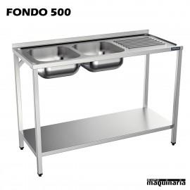 Fregadero inox., bastidor, 2 Cubeta, estante y escurridor Fondo 500