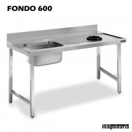 Mesa con Fregadero inox, bastidor, aro de desbarazado y escurridor, sin espacio de lavavajillas