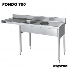 Fregadero, con aro desbarazado y espacio de lavavajillas izquierda F700