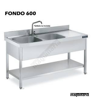 Fregadero inox. con bastidor, 2 Cubetas, estante y escurridor Fondo 600