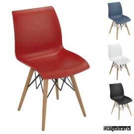 Silla diseño 1R710 madera y polipropileno