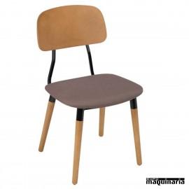 Sillas de Bar 1R750TA madera, acero y asiento tapizado