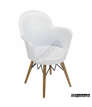 Sillon diseño 2R720 polipropileno blanco y madera