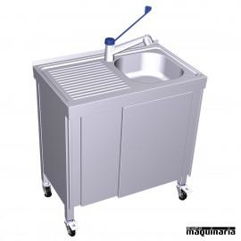 Fregadero portatil con agua caliente, cubeta y escurridor FR054244