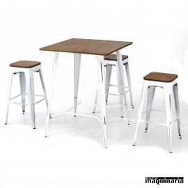 Mesa con taburetes AGCONJ-VINTAGE2 envejecido