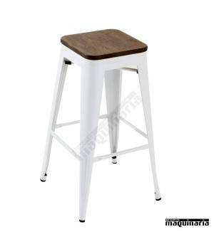 Taburete estilo industrial AG5046BBR asiento madera
