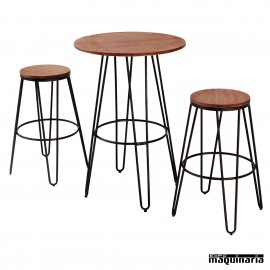 Mesa con taburetes AGCONJ-ANTIK3 madera