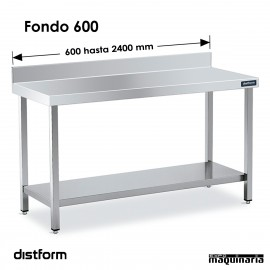 Mesa MURAL Acero Inox Fondo 600 CON ESTANTE