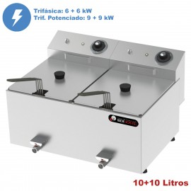 Freidora doble TRIFÁSICA 10+10L IBER-FRY10+10GT-II