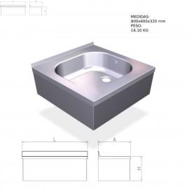 Fregadero inox colgante con faldón con una cubeta, Medidas 800x600x320 mm